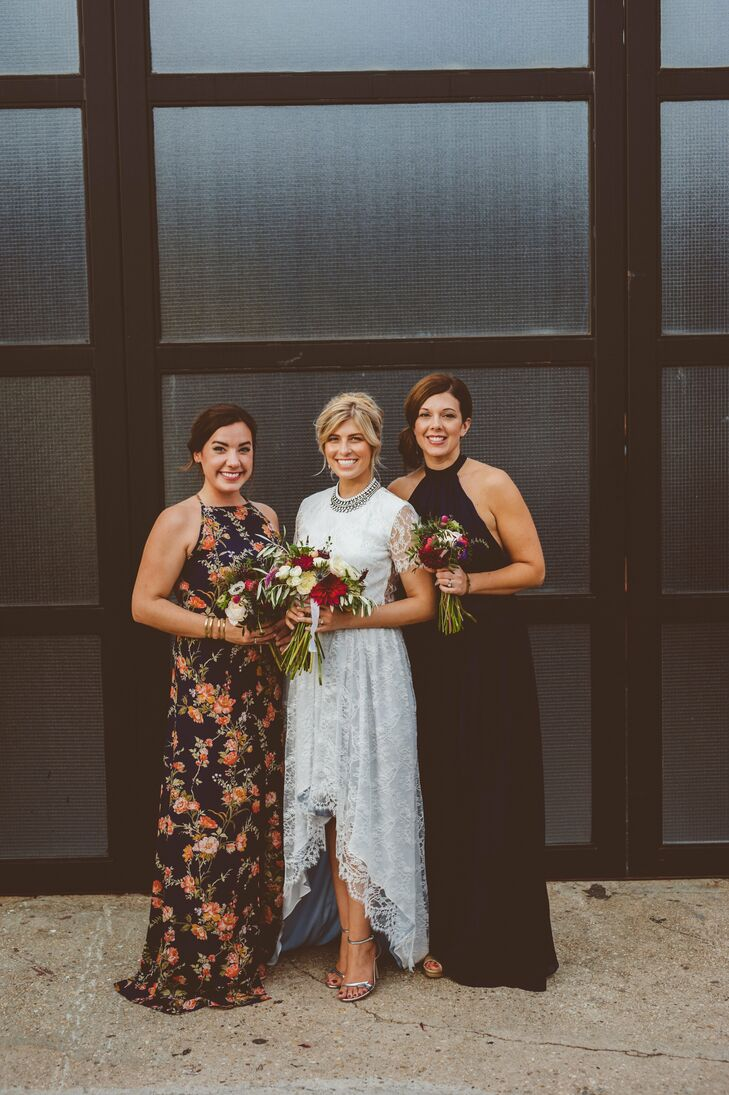 Deenie chose Reformation gowns that her maid and matron of honor could wear again and again.