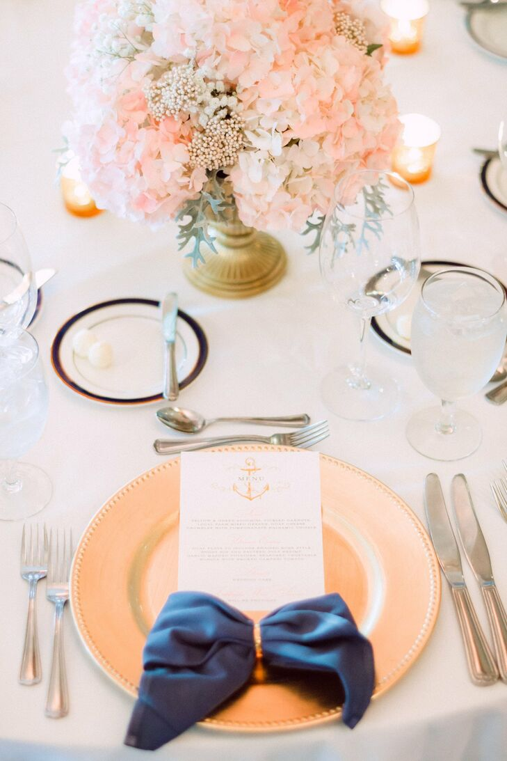 The white menu cards featured an illustration of an anchor at the top, a reoccurring motif in the wedding decor.