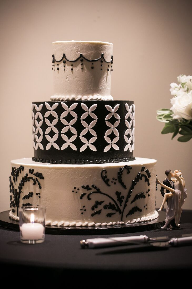 black cake toppers for wedding cakes black and white wedding cake with and groom cake topper 11857