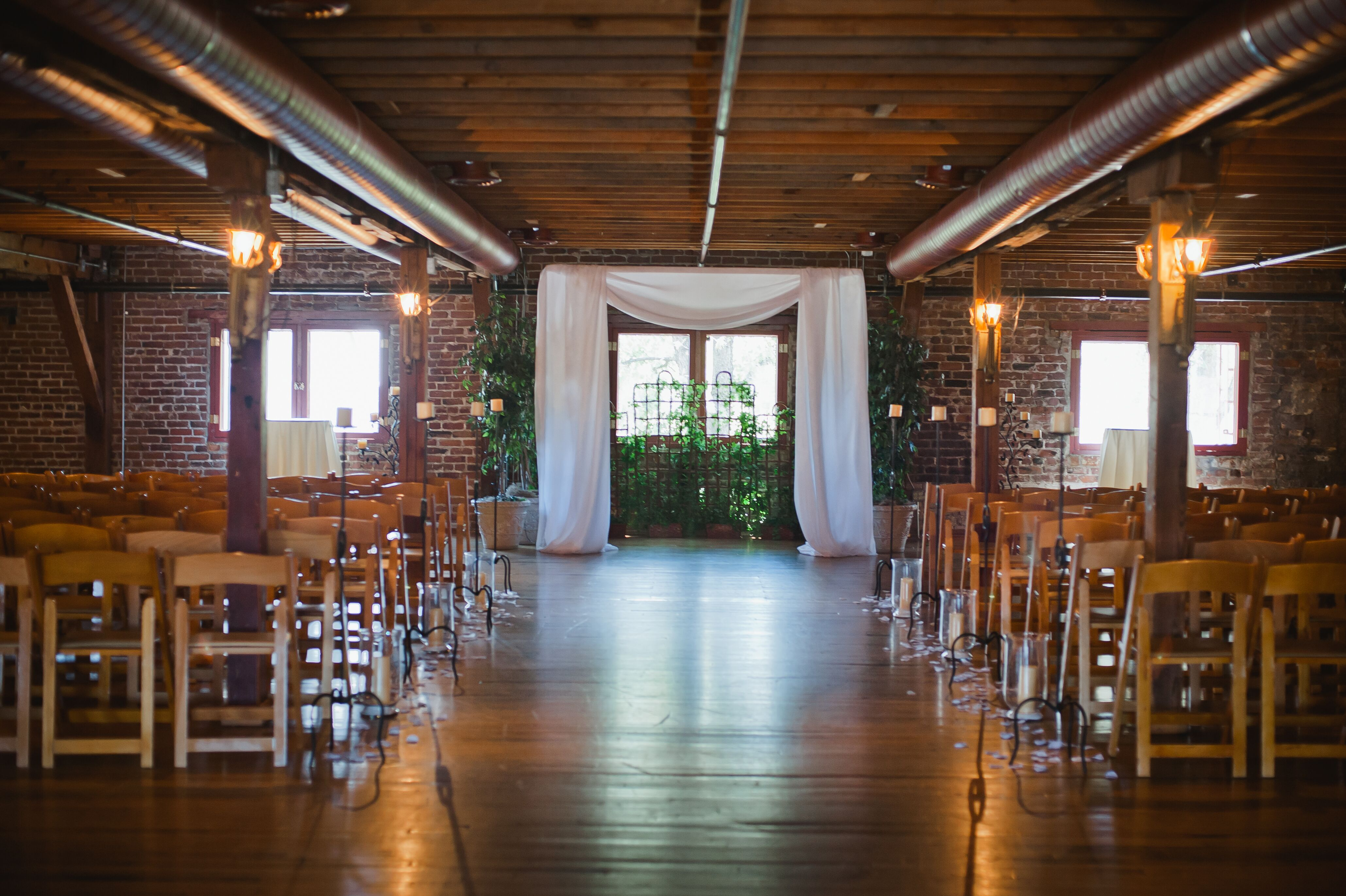 Rustic Ceremony At Mitten Building Venue