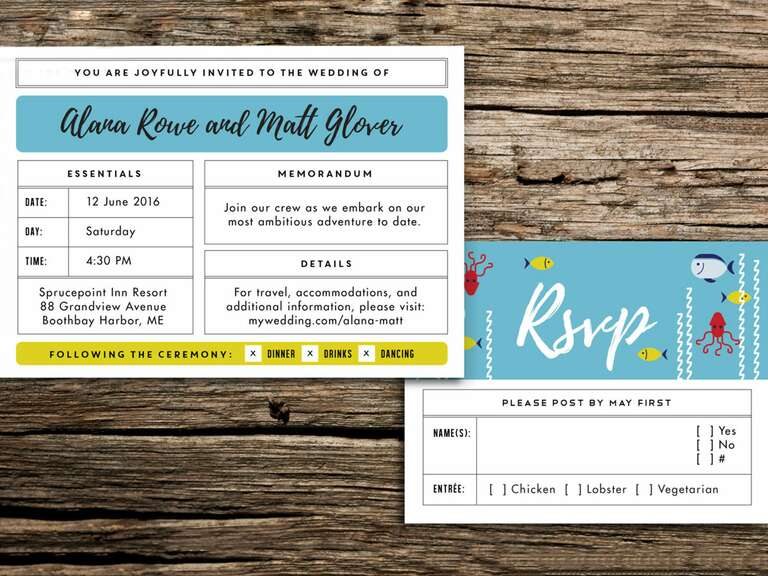 Life Aquatic wedding invitation suite