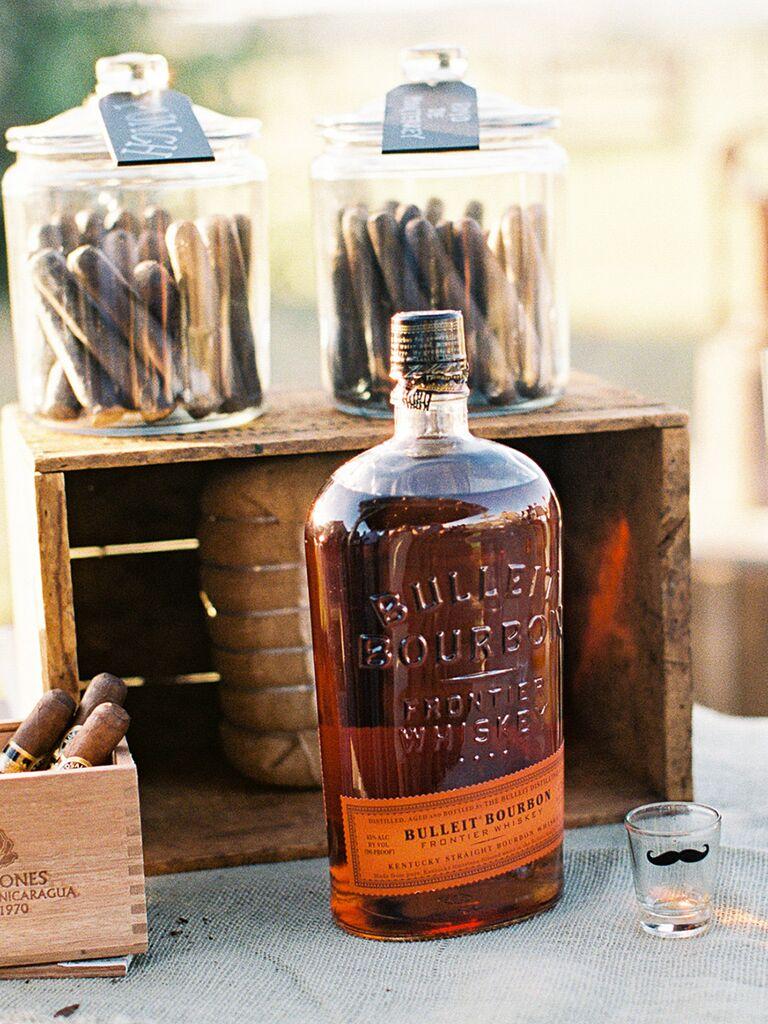 Whiskey bar for a creative wedding reception menu idea