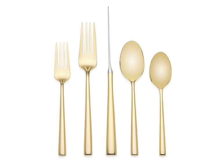 Kate Spade gold flatware 5 year anniversary gift