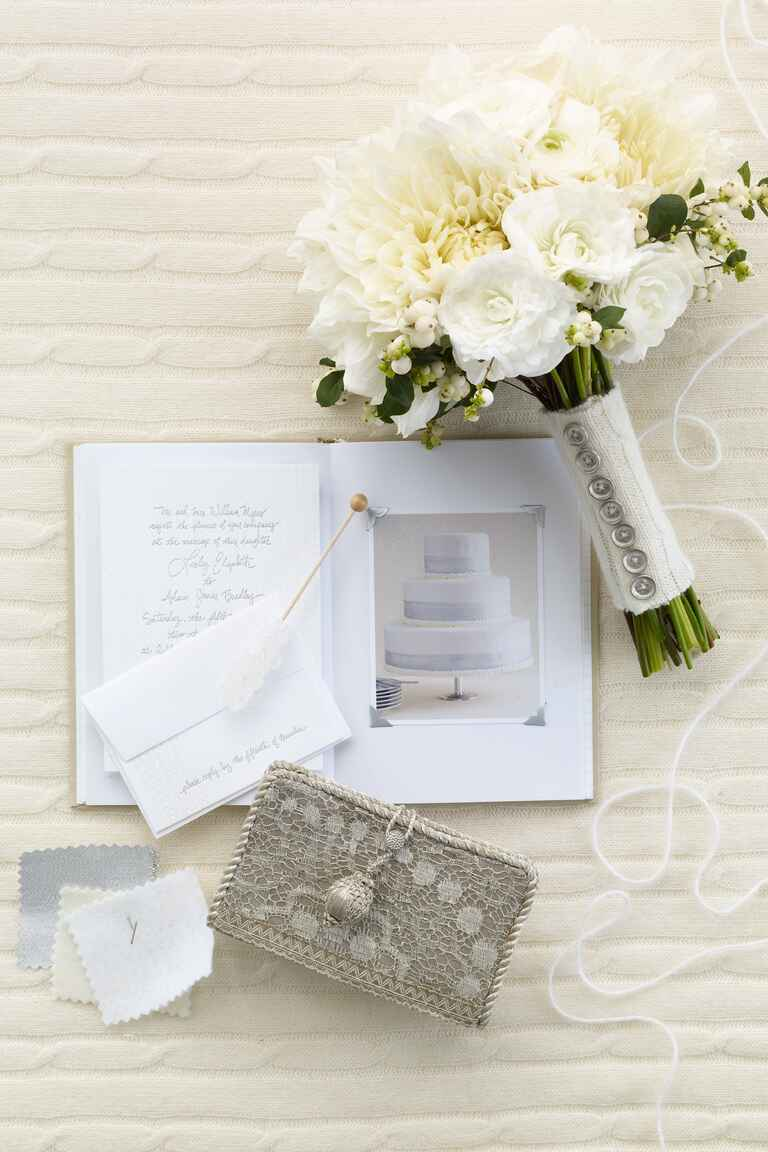 White wedding stationary