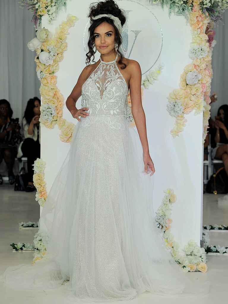 Julie Vino Fall 2018 sequined wedding dress with sheer skirt