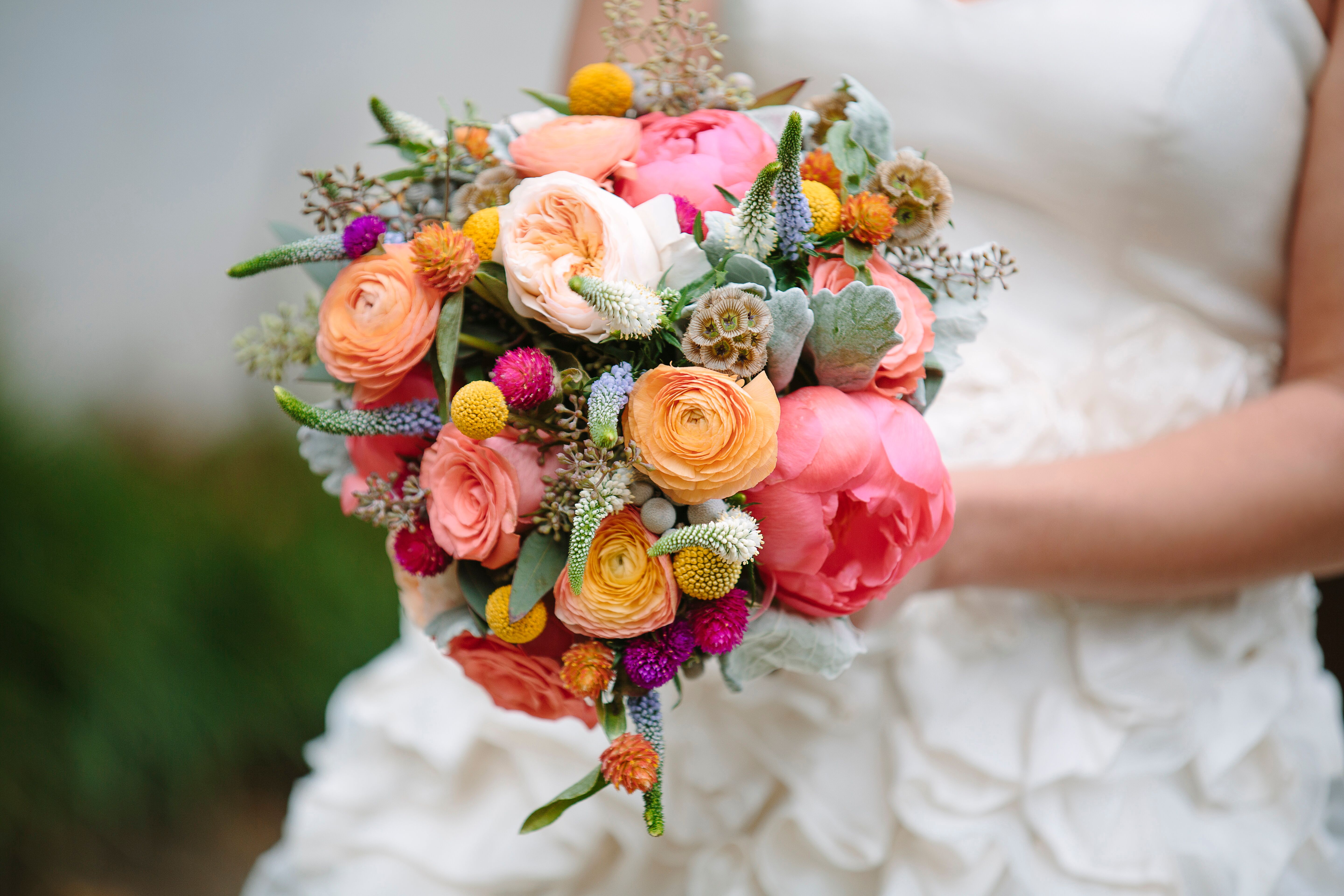 Pink Orange And Green Peony And Ranunculus Bouquet