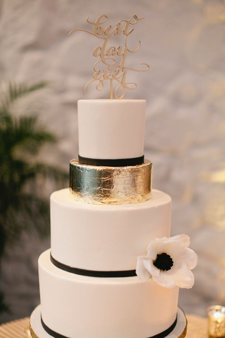 Black-and-White Wedding Cake With Metallic Gold Tier