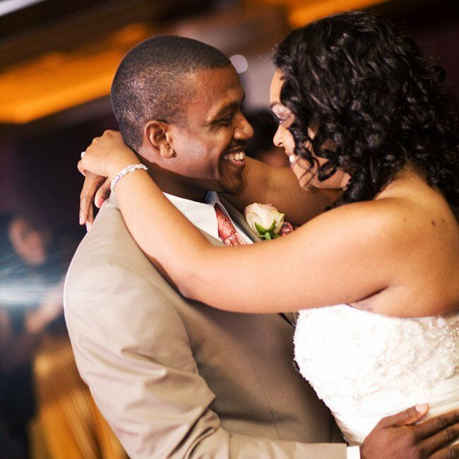 The newlyweds took a spin to Al Green's Stay With Me (by the Sea), for their first dance.