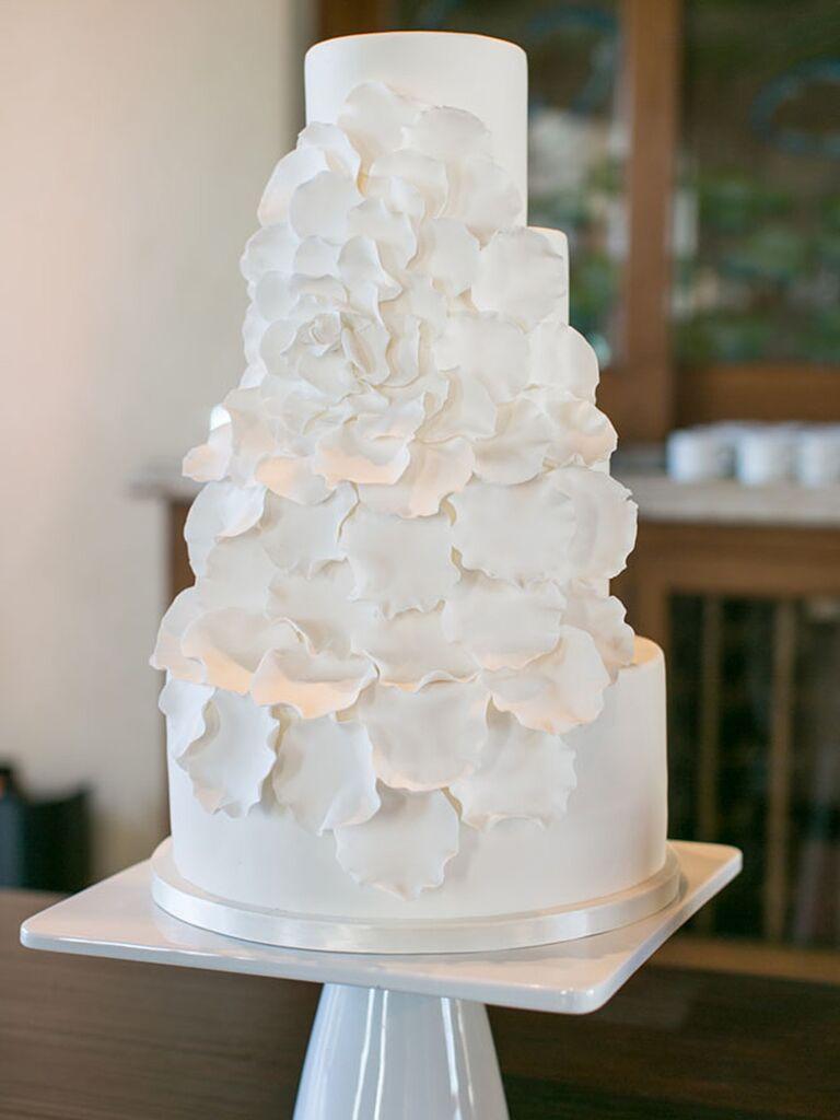 Modern All White Design Wedding Cake
