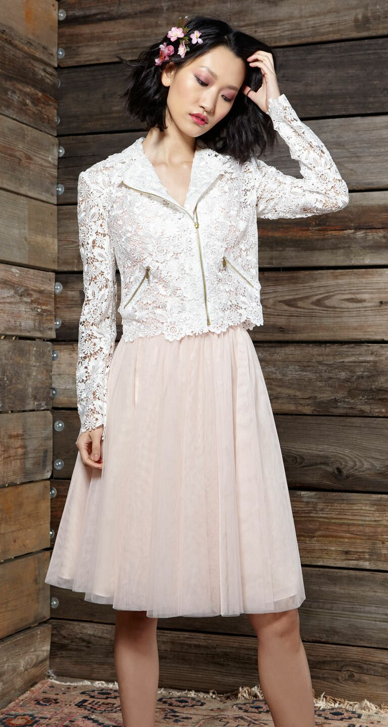 Ivy Aster Wedding Dress With Pale Pink Tulle Skirt And Lace Moto Jacket