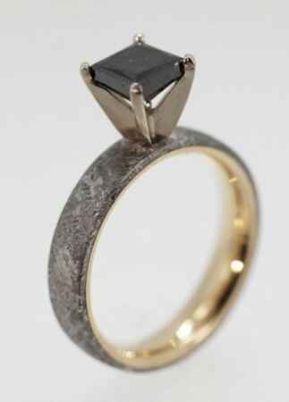 Meteorite Engagement Ring
