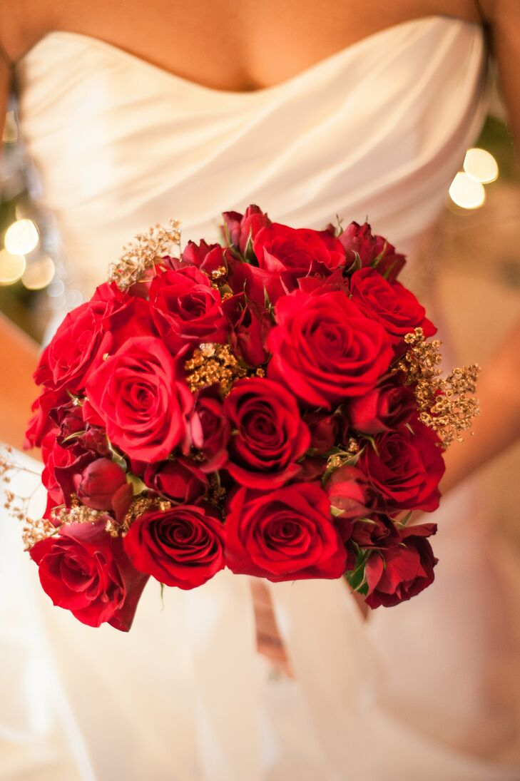 Red Rose Bridal Bouquet With Gold Babys Breath