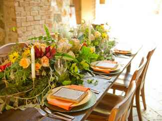 Natural tablescape with yellow roses