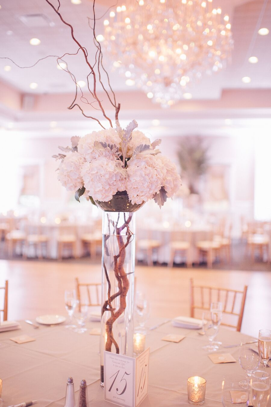 Elegant centerpieces with hydrangeas and branches