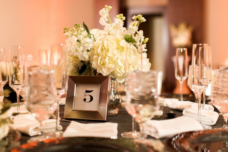 Winter white hydrangea and stock centerpieces