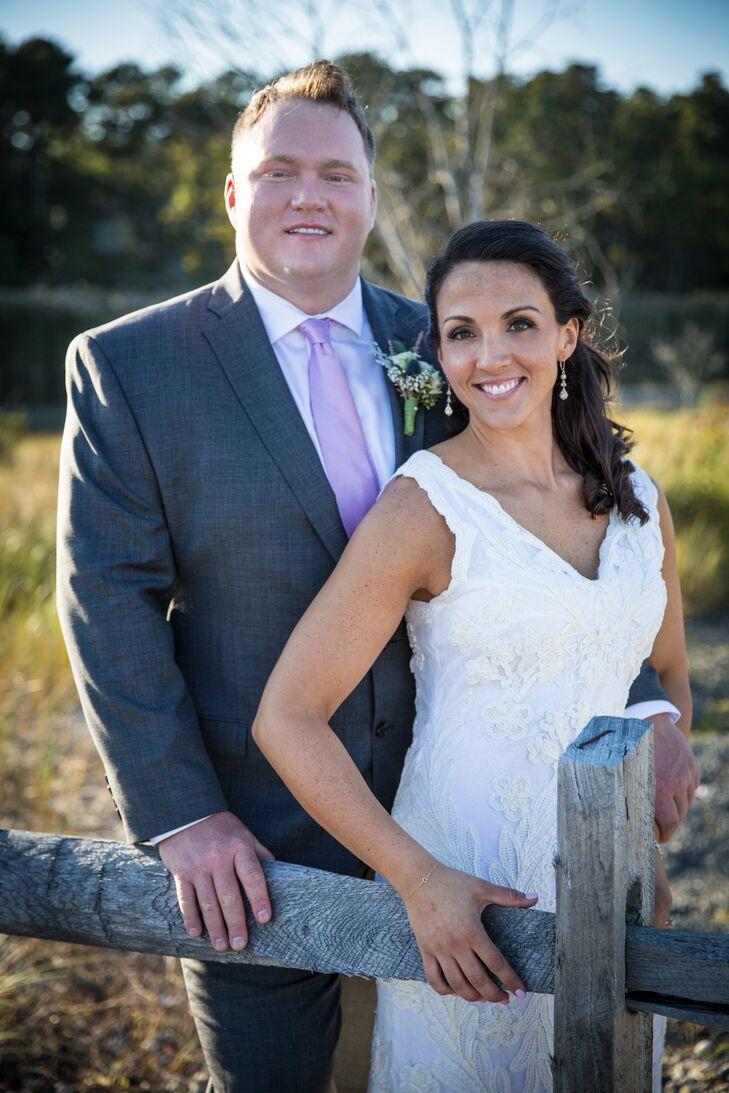 vneck lace sheath wedding dress