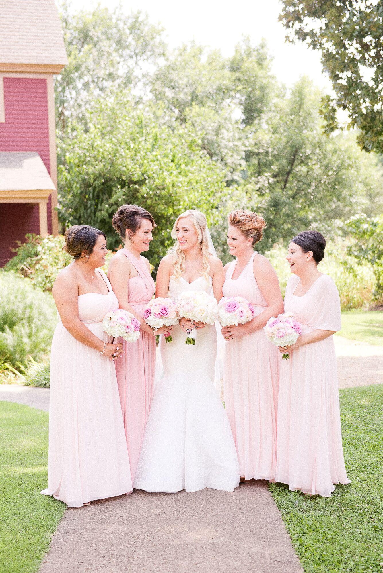 Blush And Rose Pink Convertible Bridesmaid Dresses