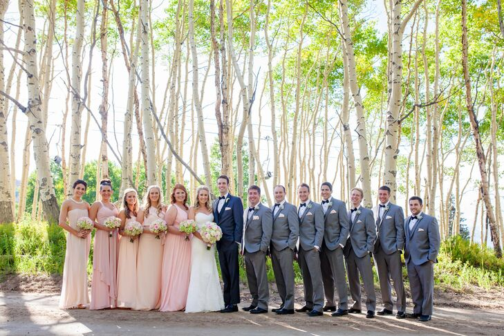 Formal Blush and Gray Wedding Party Look