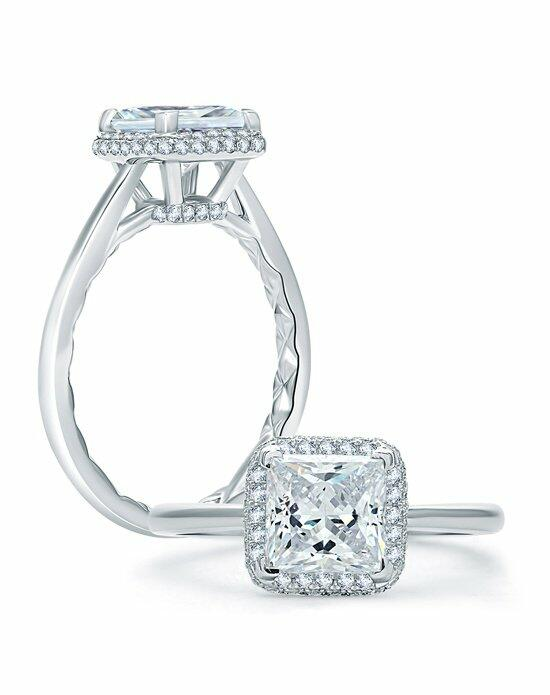 A.JAFFE Quilted Pave Princess Cut Halo Engagement Ring, ME1845Q Engagement Ring photo
