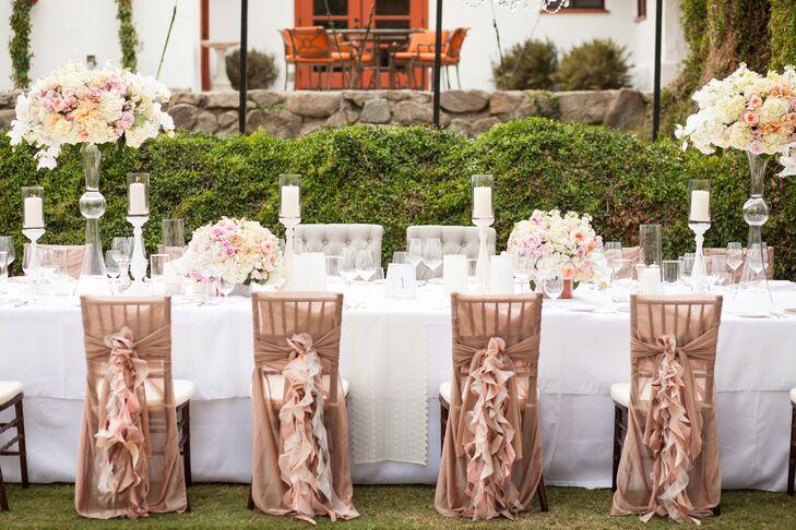 Neutral Elegant Outdoor Wedding: Elegant Neutral Head Table Decor