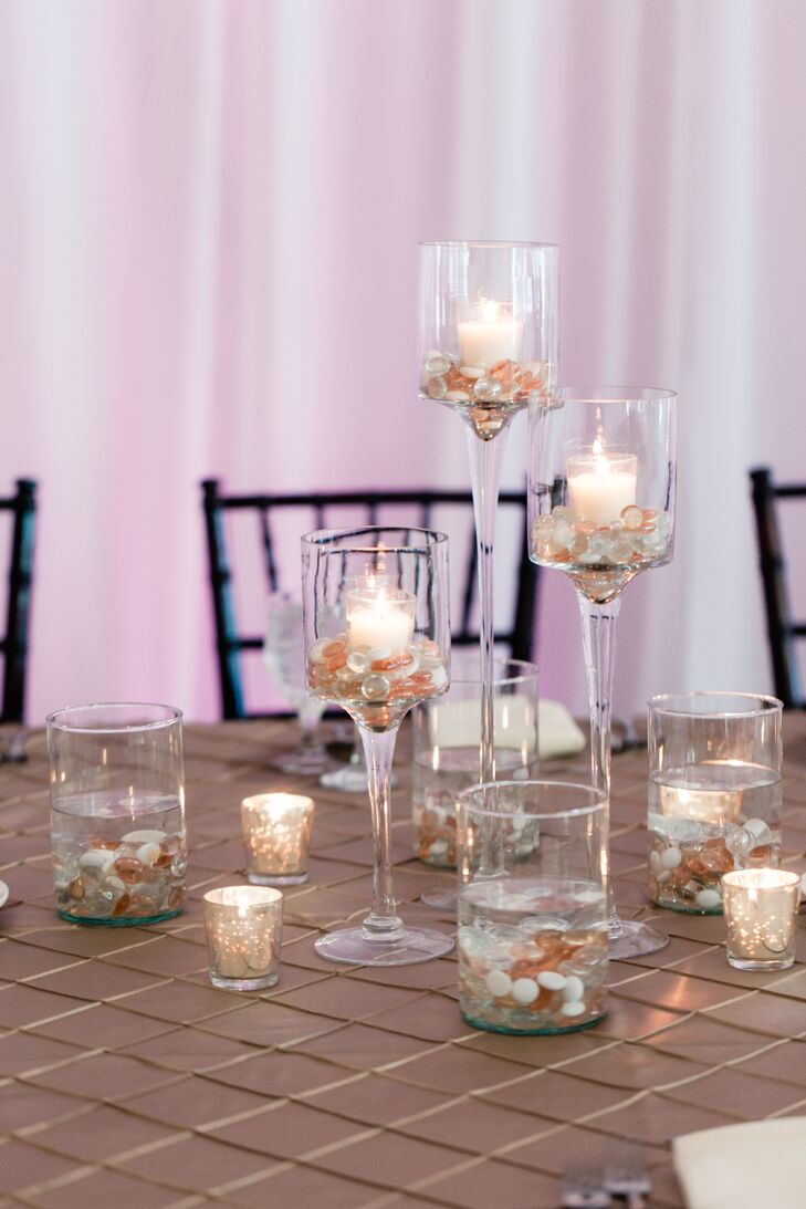 Tiered tealight candle centerpiece with colored stones
