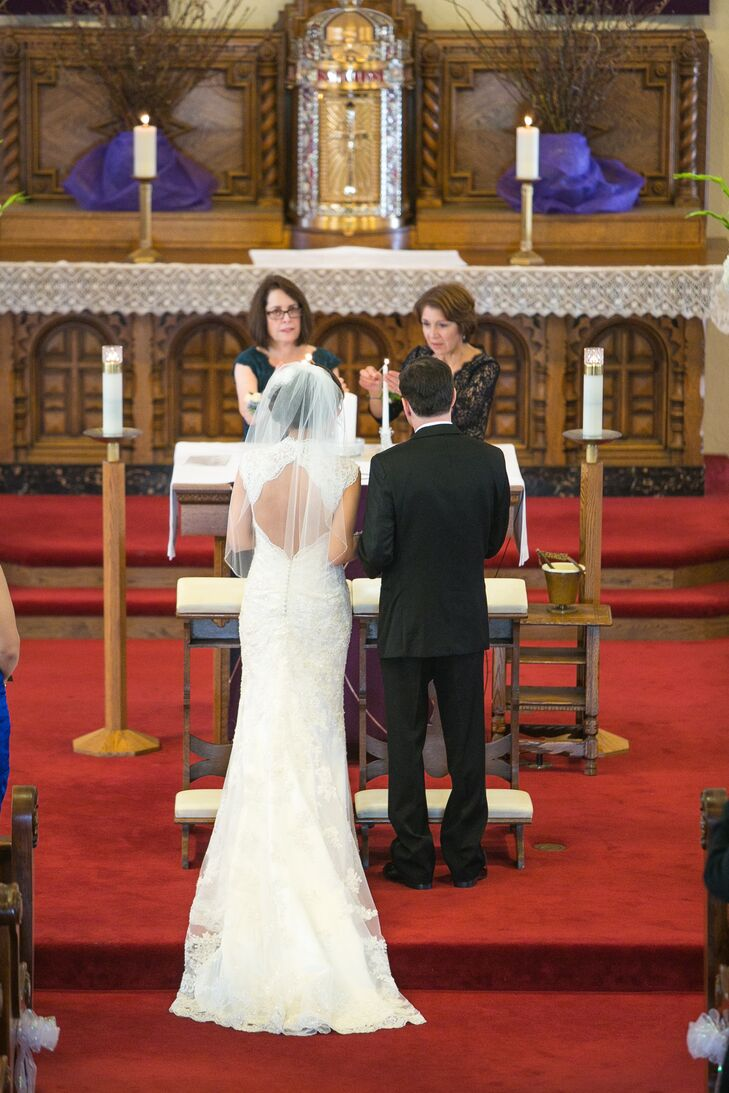 Couple Standing Near Altar During Ceremony