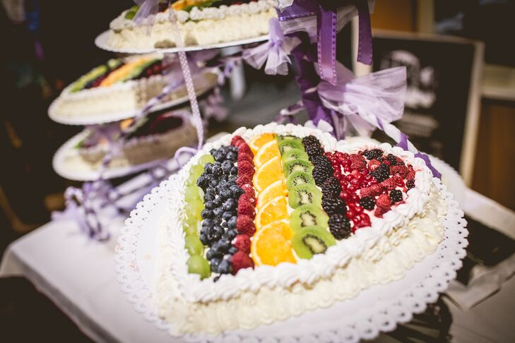 Heart-Shaped Fruit-Covered Wedding Cake