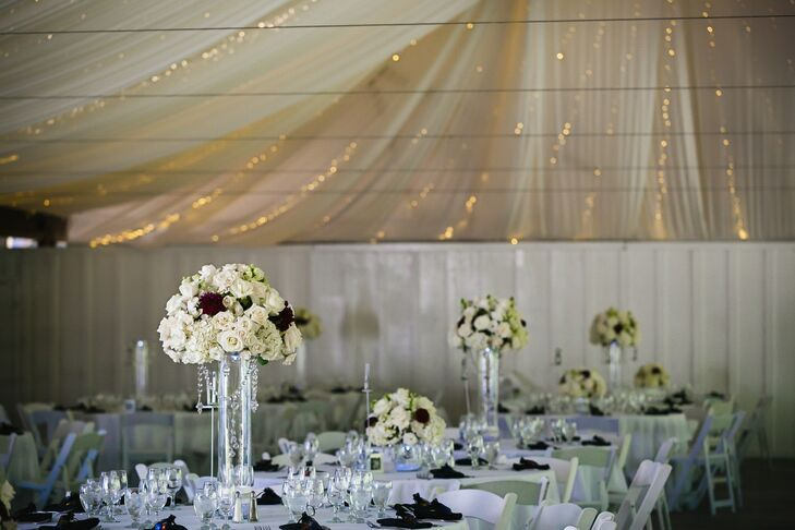 White Burgundy And Silver Wedding Reception