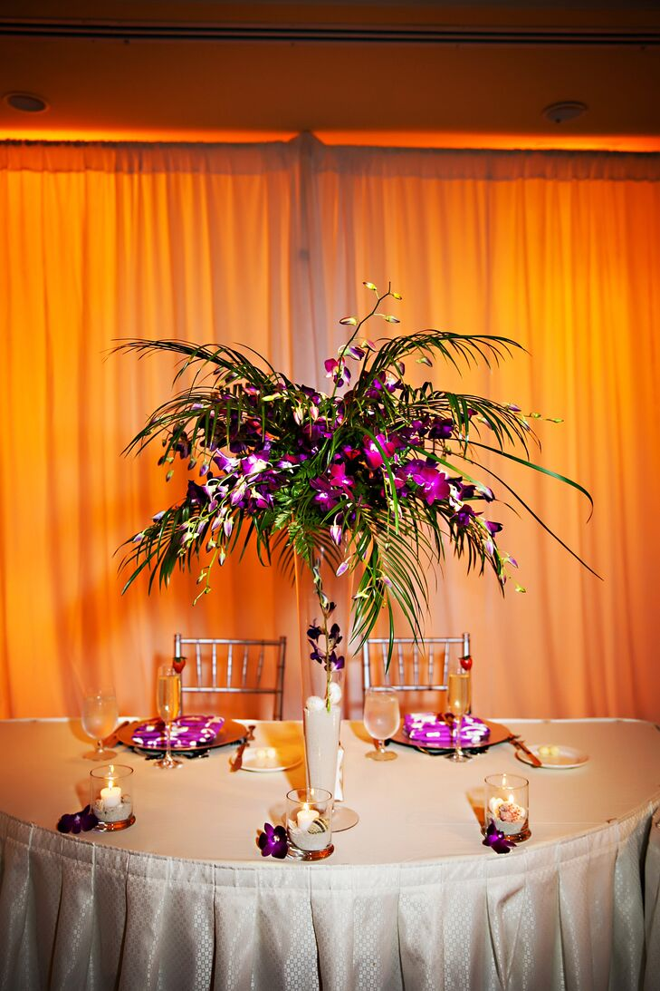 Tropical Purple And Palm Tree Leaf Centerpiece
