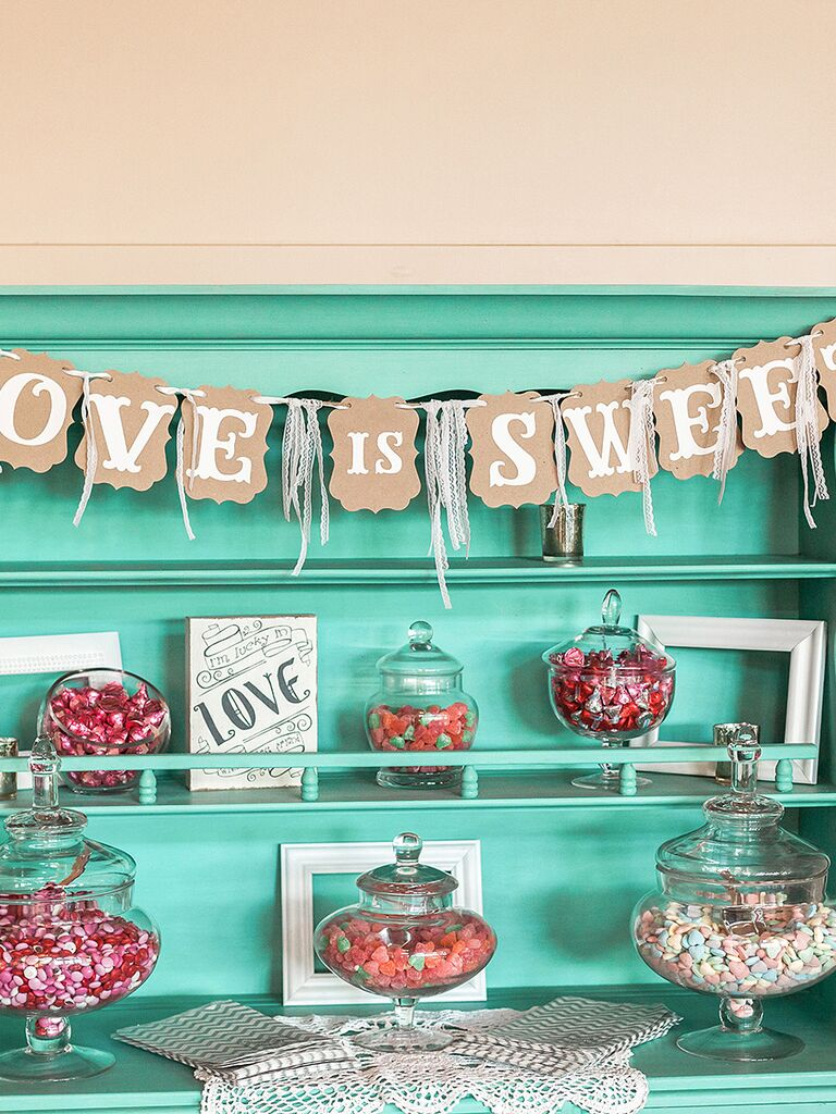 Love Is Sweet wedding reception candy bar