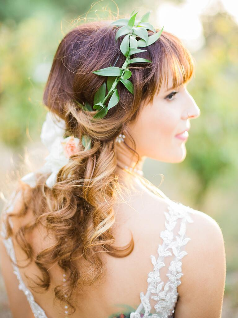Wedding flower crown made of greenery