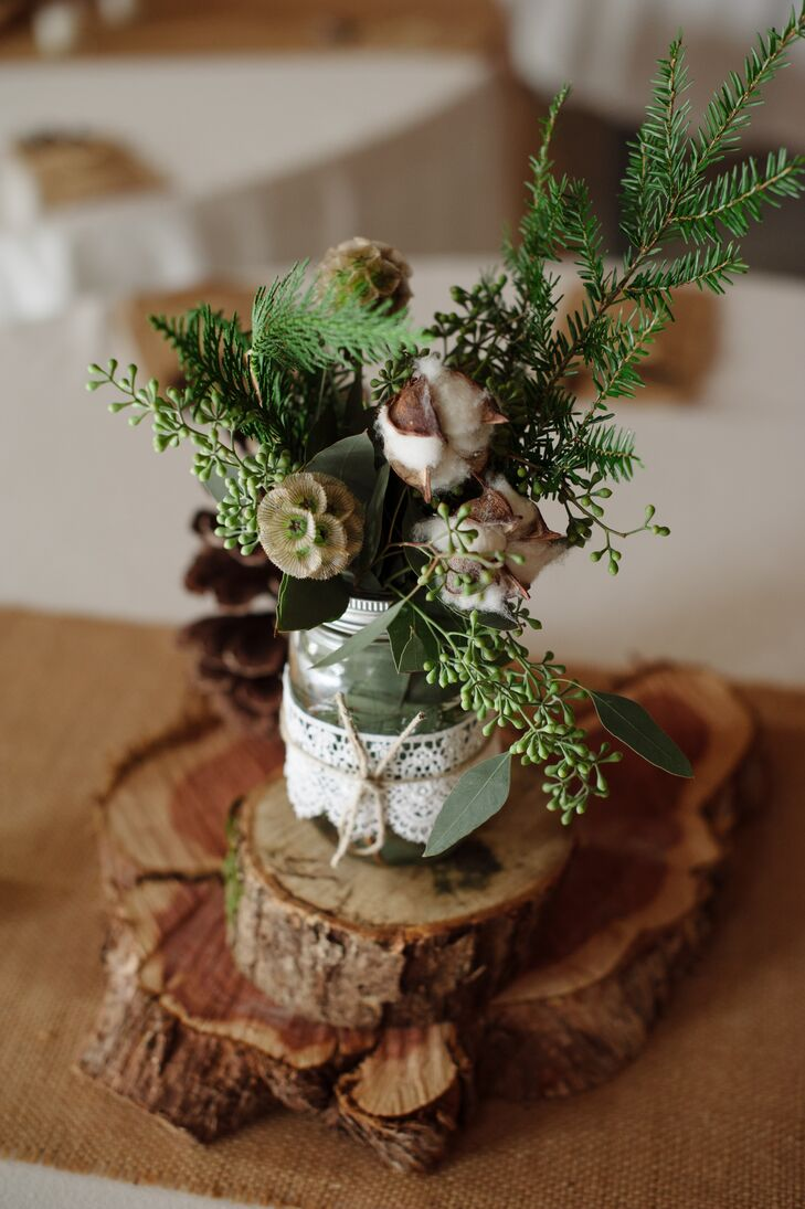 Diy wood slab and mason jar centerpieces