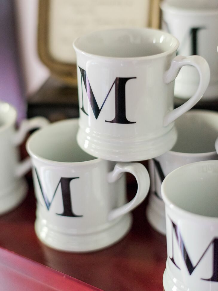 "Guests could enjoy fresh coffee from mugs monogrammed with an ""M"" to represent the newly married Meloys."