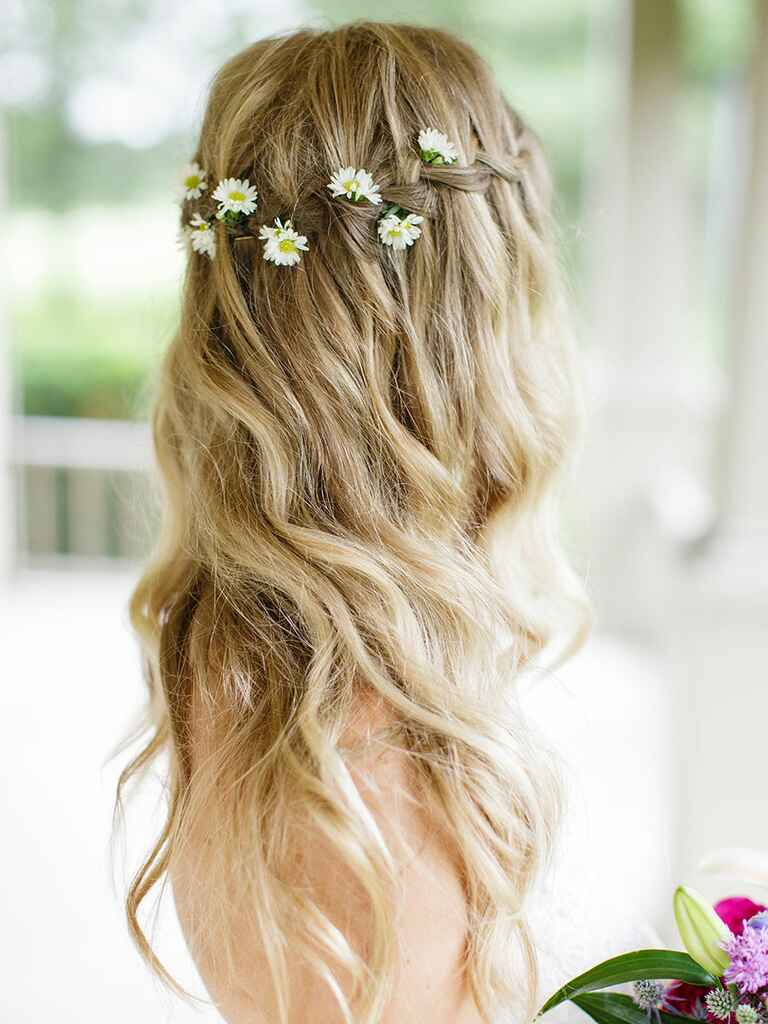 Wedding hair waterfall braid with flower crown