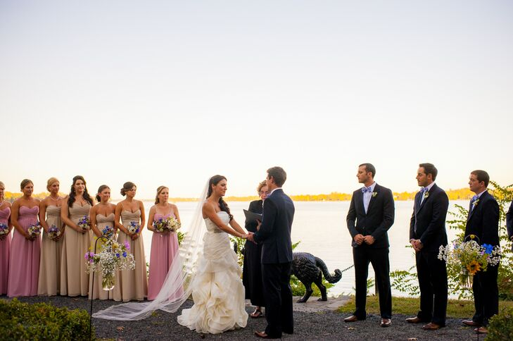 Kassandra and Brian were married by the Delaware River in a simple ceremony. Kassandra added a touch of formality to the proceedings by wearing a pretty cathedral veil during her vows.