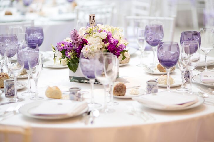 Along with the purple and white floral decor, Sara and Jamie had pops of color in unexpected places, including in the glassware.