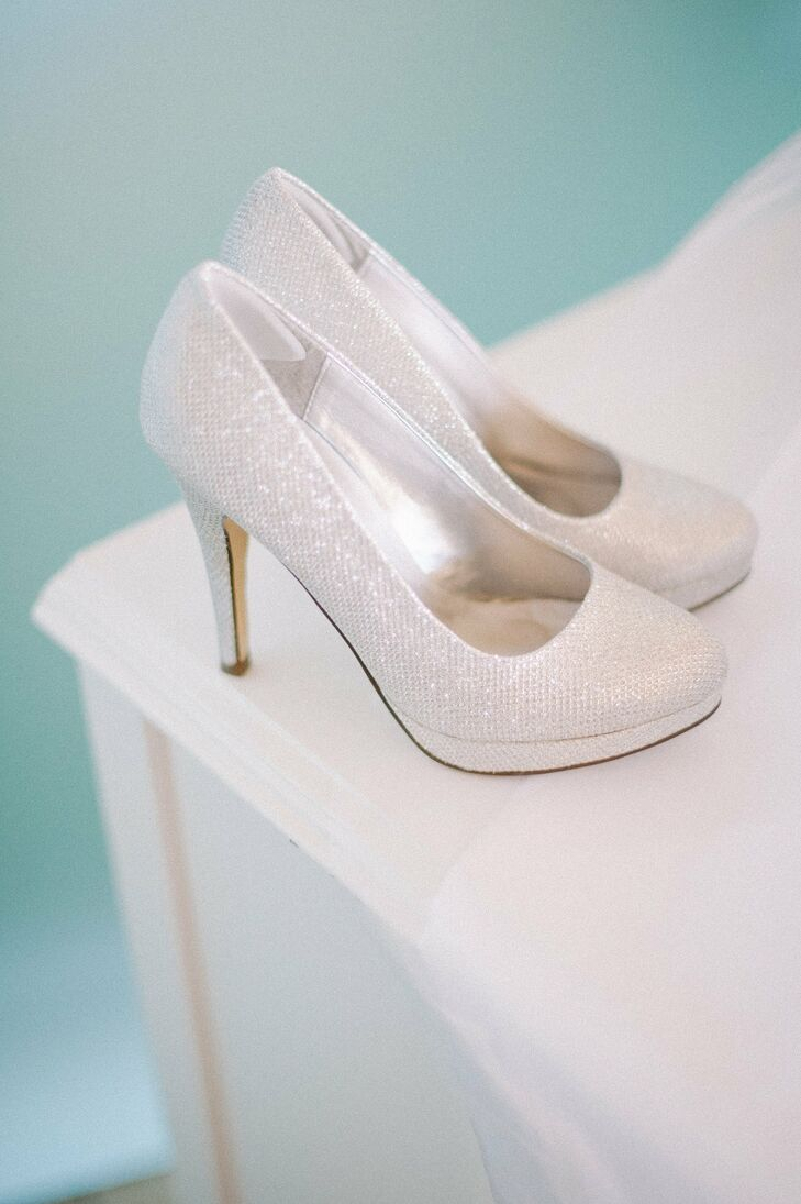 sparkly white bridal shoes