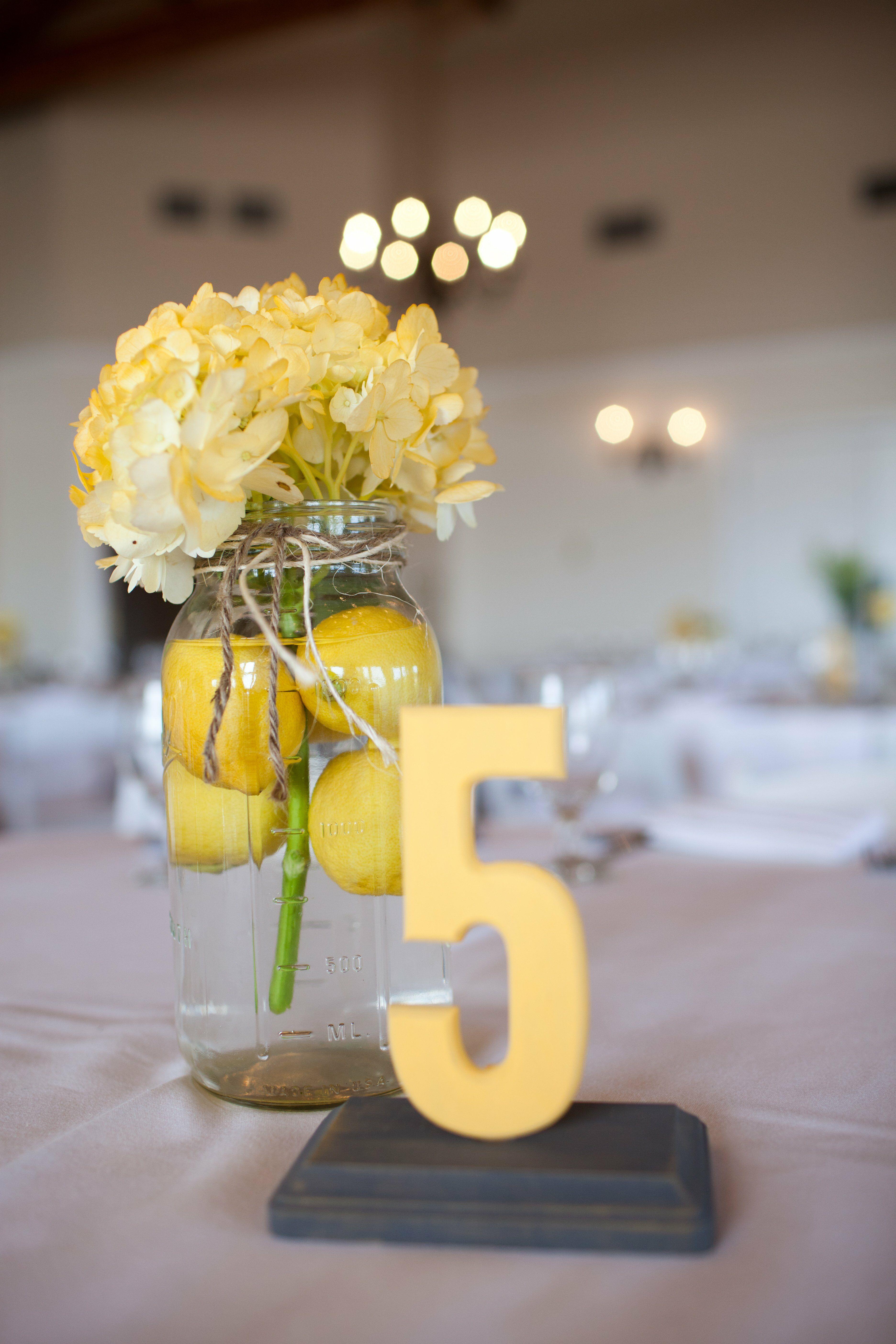 Yellow hydrangea and lemon centerpieces