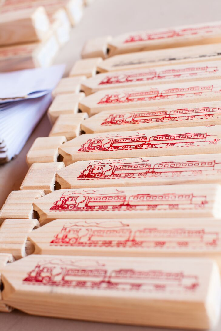 Quirky Train Whistle Wedding Guest Favors