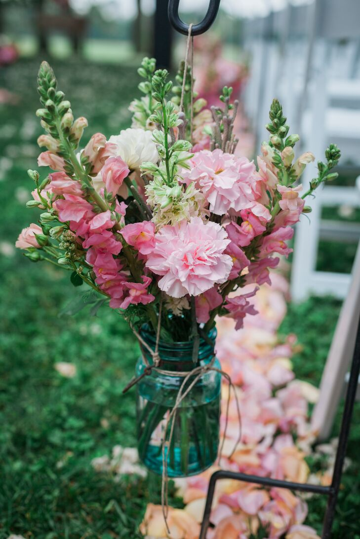 Pink Snapdragon Arrangement In Blue Mason Jar