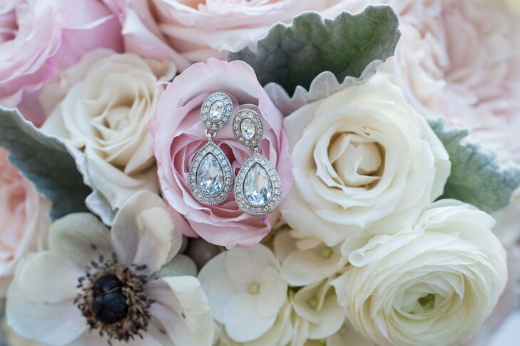 Crystal Drop Earrings on Pink and Ivory Bouquet