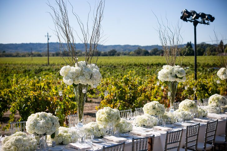 The reception took place in the middle of the green, lush vineyards outside at Stryker Sonoma Winery in Healdsburg, California. Everyone was seated at a long family-style dining table dressed in a white tablecloth, decorated with short and tall ivory arrangements filled with a mix of hydrangeas, roses, scabiosa and roses. The tall centerpieces also had branches sticking out from the top.