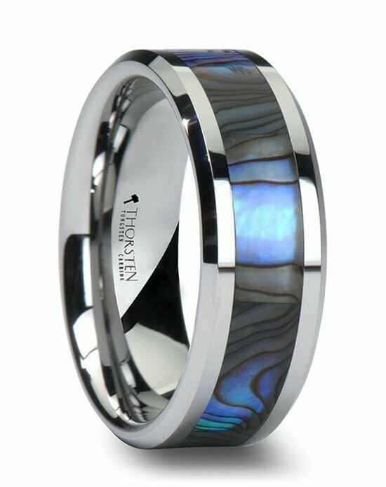 Larson Jewelers MAUI Tungsten Wedding Band with Mother of Pearl Inlay - 6 mm - 10 mm Wedding Ring photo