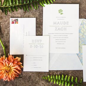 sophisticated modern invitations with pastel envelope liners