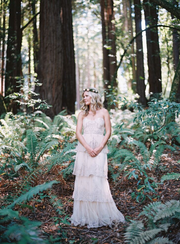 Liz ordered her gown from Anthropologie's wedding brand, BHLDN. It had a bohemian style that she absolutely fell in love with. The dress went perfectly with enchanted-forest feel in Sebastopol, California.
