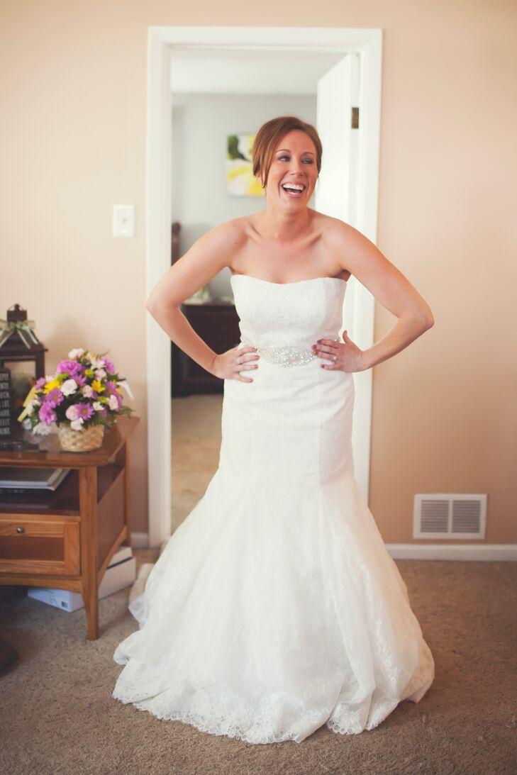 Strapless, Drop-Waist, Lace Wedding Dress with Beaded Sash