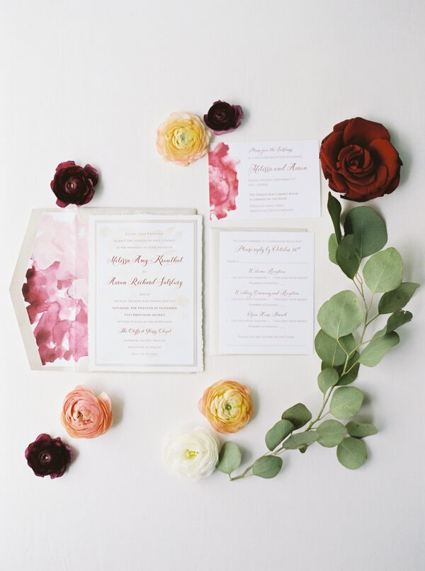 Elegant, Watercolor-Inspired Invitations and Envelope Liner