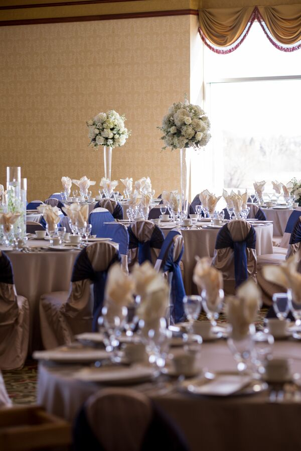 White and Navy Blue Reception Dining Tables