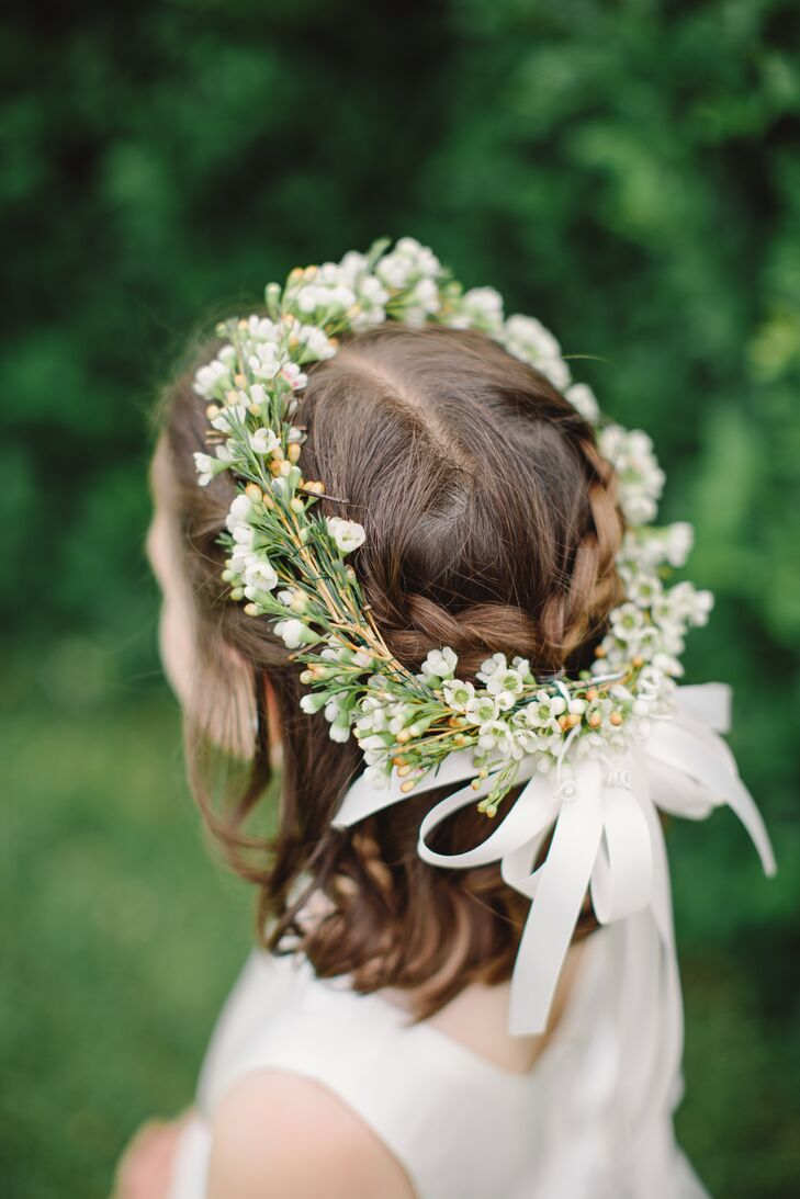 Flower girl flower crown with white ribbon izmirmasajfo