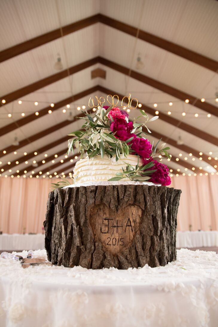 Personalized Tree-Trunk Wedding Cake Stand